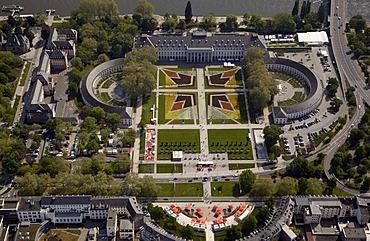 Aerial view, Kurfuerstliches Schloss or Electoral Palace Koblenz, Rhineland-Palatinate, Germany, Europe