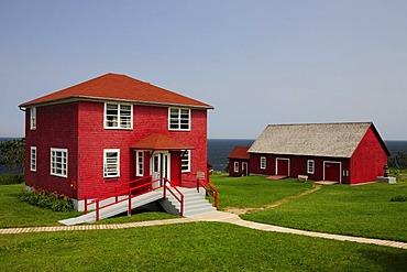 Lighthouse building La Martre, Gaspesie or Gaspe Peninsula, Quebec, Canada
