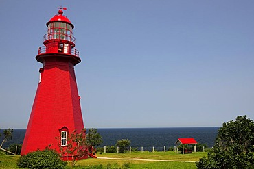 Lighthouse and lighthouse building La Martre, Gaspesie or Gaspe Peninsula, Quebec, Canada