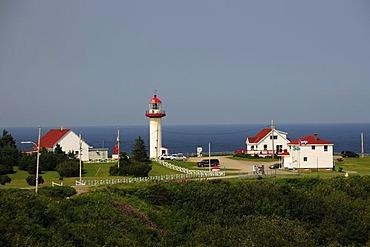 Lighthouse Cape St. Madeleine, Gaspesie or Gaspe Peninsula, Quebec, Canada