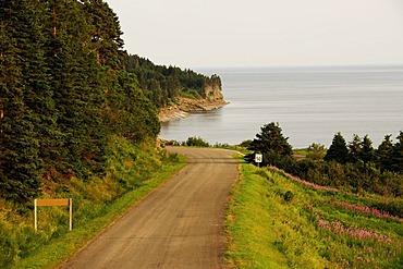 Coastal road, Forillon National Park, Gaspesie or Gaspe Peninsula, Quebec, Canada