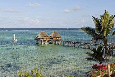 Pier over a lagoon on the south coast of Zanzibar, Tanzania, Africa