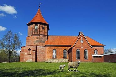 Historic St. Nicolai-Kirche church, Artlenburg, Lueneburg district, Lower Saxony, Germany, Europe