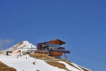 Summit station on Mt. Fellhorn, skiing area, Oberstdorf, Allgaeu Alps, Allgaeu, Bavaria, Germany, Europe