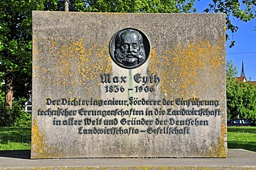 """Max Eyth monument, Adlerbastei, this is where the """"Tailor of Ulm"""" started his flight test, Ulm, Baden-Wuerttemberg, Germany, Europe"""
