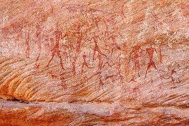 Painted people, neolithic rockart of the Acacus Mountains or Tadrart Acacus range, Tassili n'Ajjer National Park, Unesco World Heritage Site, Algeria, Sahara, North Africa