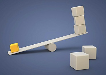 Seesaw out of balance, small cube weighing more than many large cubes, symbolic image for imbalance or dominance, 3D illustration