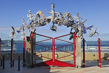 Museum of New Zealand, gateway to the port side with Maori symbols made of stainless steel, Te Papa, Wellington, North Island, New Zealand