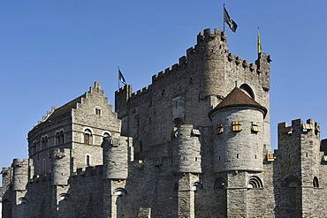 Het Gravensteen, Castle of the Counts, in the center of Ghent, Flanders, Belgium, Europe