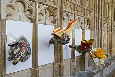 Crucible sculpture exhibition, Gloucester Cathedral, Gloucester, Gloucestershire, England, United Kingdom, Europe