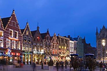 Grote Markt market square, old town, UNESCO World Heritage Site, Bruges, Brugge, West Flanders, Flemish Region, Belgium, Europe