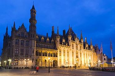 Provinciaal Hof, Provincial Court, Grote Markt market square, old town, UNESCO World Heritage Site, Bruges, Brugge, West Flanders, Flemish Region, Belgium, Europe