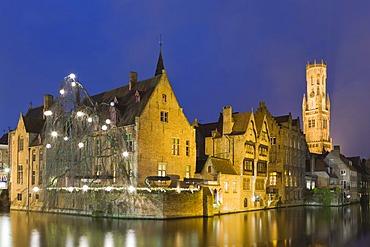 View from Rozenhoedkaai with the Belfry, old town, UNESCO World Heritage Site, Bruges, Brugge, West Flanders, Flemish Region, Belgium, Europe