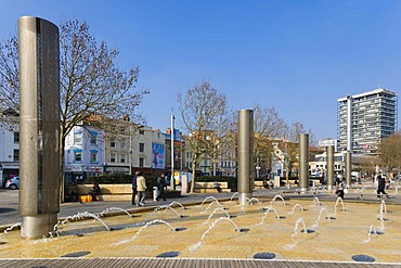 The Centre promenade with Colston Tower and fountains, Bristol, Gloucestershire, England, United Kingdom, Europe