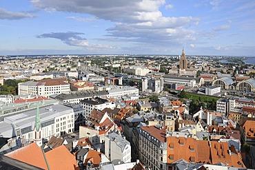 View of Riga, historic district, Daugava River, Latvia, Baltic states, Northern Europe