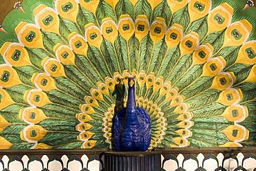 Peacock figurine, Tivoli gardens, Copenhagen, Denmark, Europe