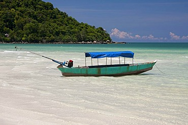 Boat on the beach on the island of Phu Quoc, Vietnam, Asia