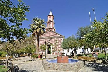 Church, fountain, square, Monte Grande, village, Vicuna, Valle d'Elqui, Elqui Valley, La Serena, Norte Chico, northern Chile, Chile, South America