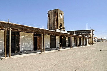 Plaza, square, buildings, street, clock tower, Humberstone, salpetre works, abandoned salpetre town, ghost town, desert, museum, UNESCO World Heritage Site, Iquique, Norte Grande region, Northern Chile, Chile, South America