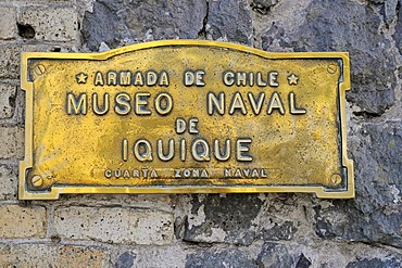 Sign, Museo Naval, Maritime Museum, historical museum, Armada, navy, marine museum, shipping, Iquique, Norte Grande region, Northern Chile, Chile, South America