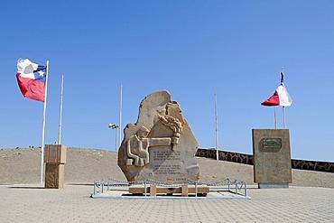 Chilean flag, monument, El Morro, mountain, landmark, theater of war, War of the Pacific, Arica, Norte Grande, North Chile, Chile, South America