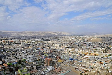 Overview, cityscape, houses, views from the El Morro mountain, landmark, desert, desert mountains, Arica, Norte Grande, northern Chile, Chile, South America