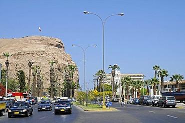 El Morro, mountain, landmark, theater of war, War of the Pacific, road traffic, Arica, Norte Grande, northern Chile, Chile, South America