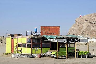 Small restaurant, Atacama Desert, El Morro, mountain, Arica, Norte Grande, northern Chile, Chile, South America