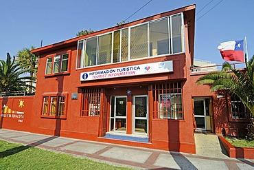 Tourist information, Chilean flag, Arica, Norte Grande, northern Chile, Chile, South America