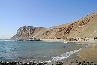 El Laucho, beach, sea, coast, desert mountains, Arica, Norte Grande, northern Chile, Chile, South America