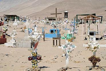 Cemetery, San Jeronimo, church, Poconchile village, Atacama Desert, Arica, Norte Grande, northern Chile, Chile, South America