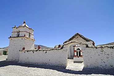 Church, built with Adobe construction methods, Parinacota, mountain village, Lauca National Park, Altiplano, Norte Grande, Northern Chile, Chile, South America