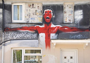 Football World Cup, decoration, painted house wall, football player with flag, Bristol, England, United Kingdom, Europe