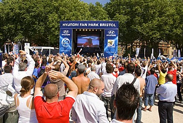 Spectators and fans at a fan park, public screening on a large flat screen, stage, soccer match, goal celebrations, Football World Cup, Queen Square, Bristol, England, United Kingdom, Europe