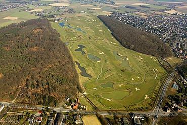 Aerial view, golf course, Kamper Berg, Kamp-Lintfort, Niederrhein region, North Rhine-Westphalia, Germany, Europe