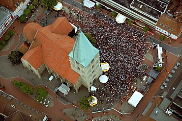 Aerial picture, public screening in front of St. Paul's Church, Football World Cup 2010, the match Germany vs Australia 4-0, Hamm, North Rhine-Westphalia, Germany, Europe