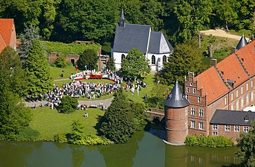 Aerial picture, open air church service on the occasion of the Feast of Corpus Christi, Herten palace gardens, Herten moated castle, Barockpark gardens, Herten, Ruhr Area, North Rhine-Westphalia, Germany, Europe