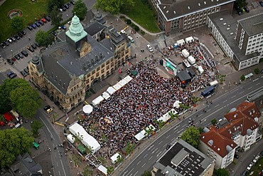 Aerial view, public screening, Football World Cup 2010, the match Germany vs Australia 4-0, Rathausvorplatz square, Recklinghausen, Ruhr Area, North Rhine-Westphalia, Germany, Europe