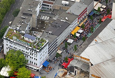 Aerial picture, public screening, Football World Cup 2010, the match Germany vs Australia 4-0, Kortumstrasse street, Bochum, Ruhr district, North Rhine-Westphalia, Germany, Europe
