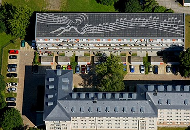 Aerial view, flat roof, notes on the roof, Gutzkowstrasse, Dresden, Saxony, Germany, Europe