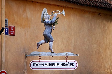 Trumpet, tin figure, museum sign Hracek, Hradcany, Prague Castle, Prague, Czech Republic, Europe
