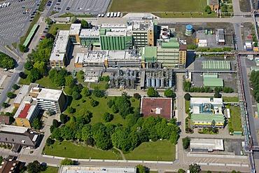 Aerial view, buildings of the Schering AG, a German pharmaceutical company, Bergkamen, Ruhr area, North Rhine-Westphalia, Germany, Europe