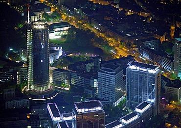 Aerial view, night shot, Evonik administration, RWE-Tower, downtown with main train station, Essen, Ruhrgebiet region, North Rhine-Westphalia, Germany, Europe