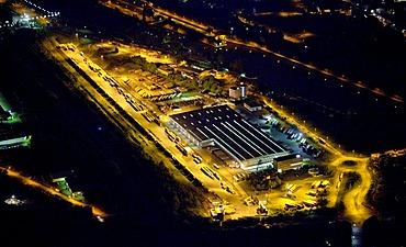Aerial view, night shot, freight center Hafen Wanne-West, Gelsenkirchen, Ruhrgebiet region, North Rhine-Westphalia, Germany, Europe