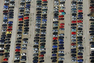 Aerial view, parking area, rows of cars, Ennepetal, Ruhr area, North Rhine-Westphalia, Germany, Europe