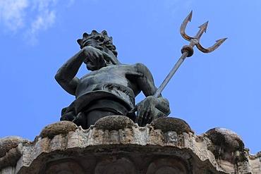 Detail, Neptune fountain, Piazza del Duomo cathedral square, Trento, Trentino-Alto Adige, Italy, Europe