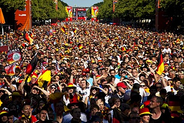 Fans at the eight final match of the Football World Cup 2010 on the Berlin fan mile, Berlin, Germany, Europe
