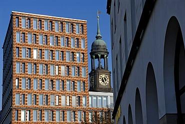 St. Michaelis or Michel Church behind the KPMG office building on Ludwig-Erhard-Strasse, Hamburg, Germany, Europe