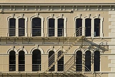 A fire ladder on a typical Victorian facade in downtown Dunedin, South Island, New Zealand