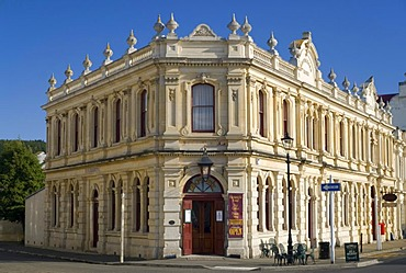 The facade of the Criterion Hotel, a typical limestone building in downtown Oamaru, South Island, New Zealand